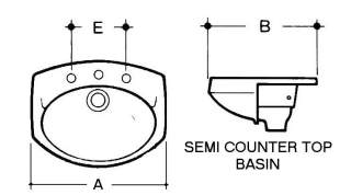 semi counter top basin